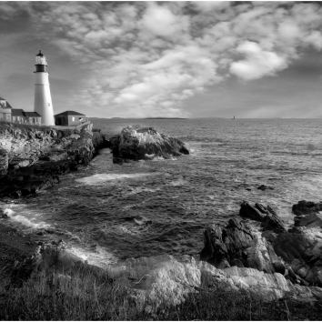 Clouds Over Poerland Light HOuse Maine